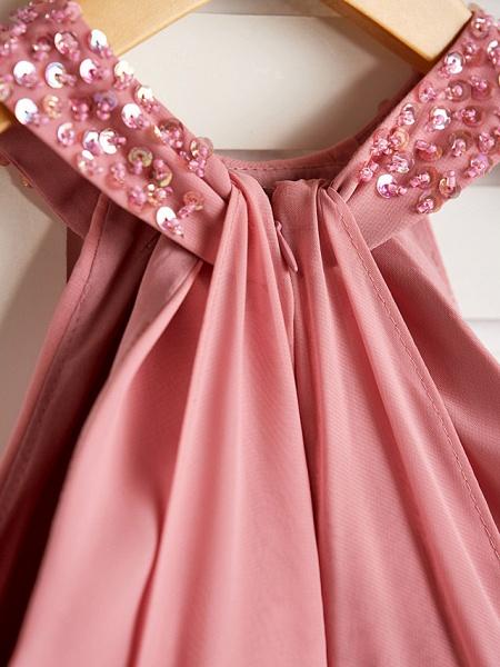 A-Line Halter Neck Maxi Chiffon Junior Bridesmaid Dress With Beading / Ruching_5