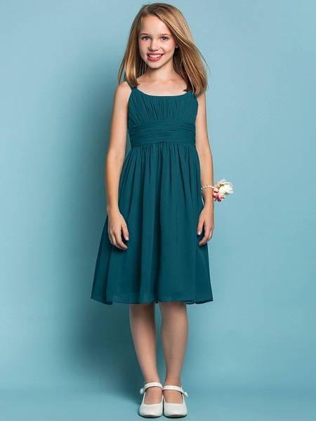 Sheath / Column Straps Knee Length Chiffon Junior Bridesmaid Dress With Ruched / Draping / Spring / Summer / Fall / Apple / Hourglass_34