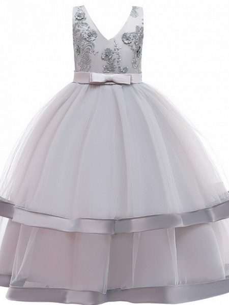 Princess / Ball Gown Floor Length Wedding / Party Flower Girl Dresses - Tulle Sleeveless V Neck With Sash / Ribbon / Bow(S) / Tier_6