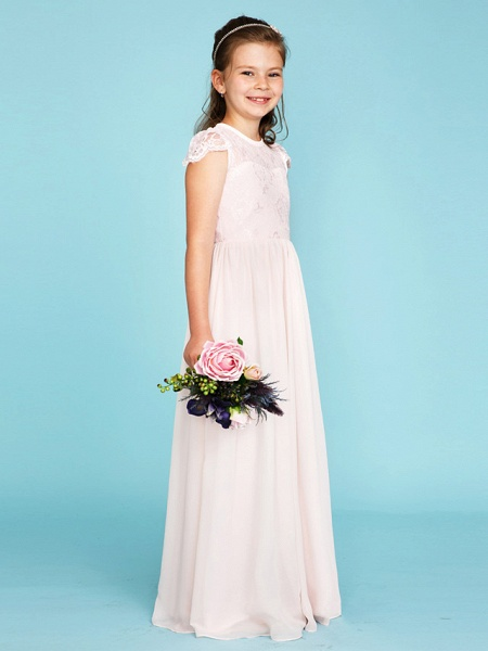Princess / A-Line Crew Neck Floor Length Chiffon / Lace Junior Bridesmaid Dress With Buttons / Pleats / Wedding Party / See Through_3