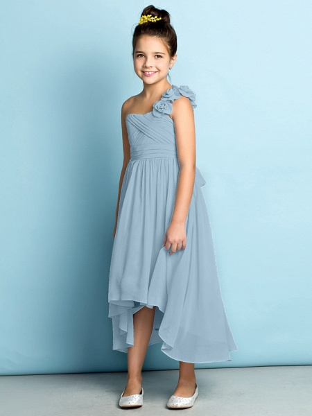 A-Line One Shoulder Asymmetrical Chiffon Junior Bridesmaid Dress With Criss Cross / Flower / Natural / Mini Me_34