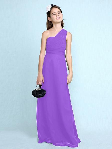 Sheath / Column One Shoulder Floor Length Chiffon Junior Bridesmaid Dress With Side Draping / Natural_33