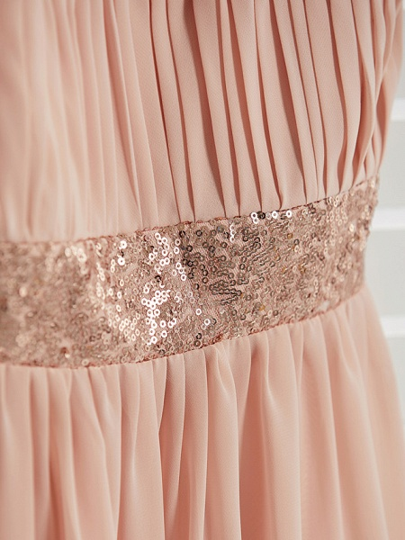 A-Line Jewel Neck Maxi Chiffon Junior Bridesmaid Dress With Lace / Sash / Ribbon_8