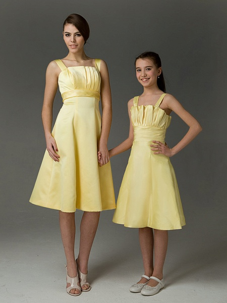 Princess / A-Line Straps Knee Length Taffeta Junior Bridesmaid Dress With Ruched / Crystals / Spring / Summer / Fall / Apple / Hourglass_2