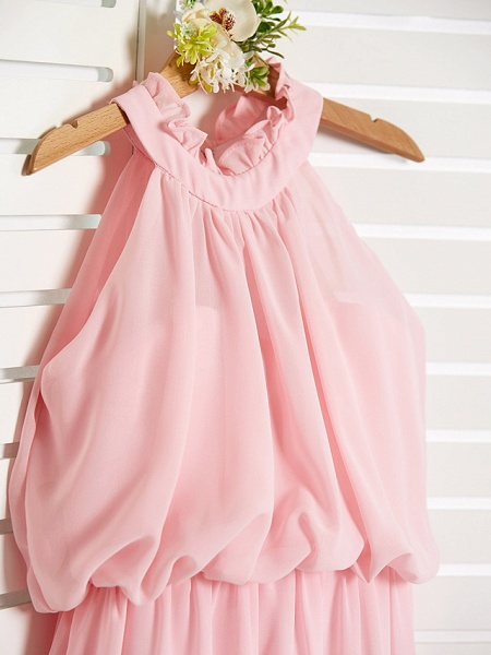 A-Line High Neck Floor Length Chiffon Junior Bridesmaid Dress With Ruffles / Ruching_4