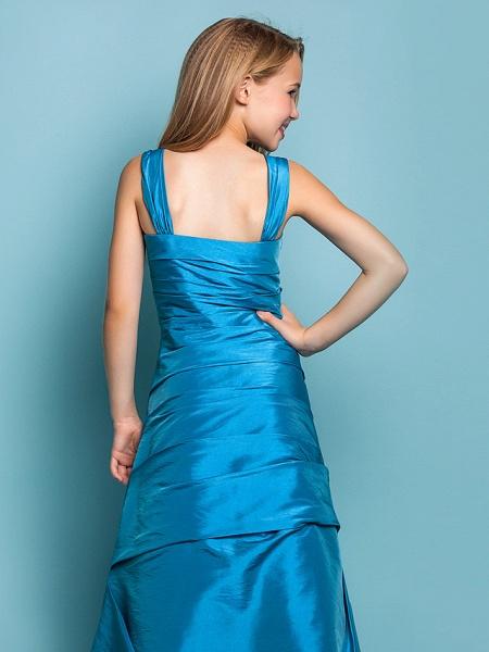 Princess / A-Line Straps Floor Length Taffeta Junior Bridesmaid Dress With Side Draping / Spring / Summer / Fall / Apple / Hourglass_6