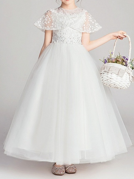 Ball Gown Ankle Length Pageant Flower Girl Dresses - Polyester Short Sleeve Jewel Neck With Appliques_2