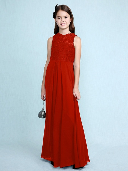 Sheath / Column Scoop Neck Floor Length Chiffon / Lace Junior Bridesmaid Dress With Lace / Natural_17
