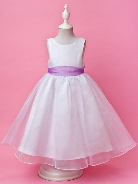 Princess / A-Line Floor Length Wedding Party Organza / Satin Sleeveless Jewel Neck With Sash / Ribbon / Buttons / Draping / Spring / Fall / Winter_1