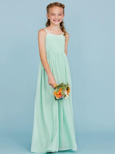Princess / A-Line Spaghetti Strap Floor Length Chiffon Junior Bridesmaid Dress With Criss Cross / Pleats / Wedding Party / Open Back_5
