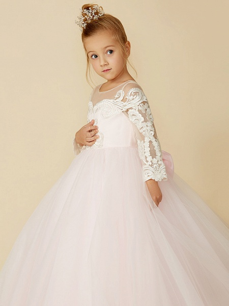 Ball Gown Court Train Wedding / Party / Pageant Flower Girl Dresses - Lace / Tulle Long Sleeve Illusion Neck With Bows / Bow(S) / Buttons_9
