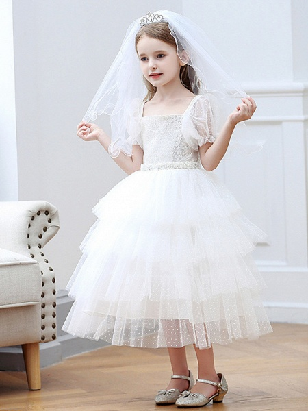 Princess / Ball Gown Tea Length Wedding / Party Flower Girl Dresses - Tulle Short Sleeve Square Neck With Cascading Ruffles_4