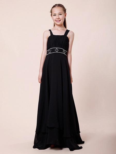 Sheath / Column Straps Floor Length Chiffon Junior Bridesmaid Dress With Beading / Draping / Empire / Spring / Summer / Fall / Winter_2
