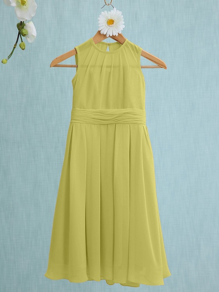Sheath / Column Jewel Neck Knee Length Chiffon Junior Bridesmaid Dress With Ruched / Natural_16