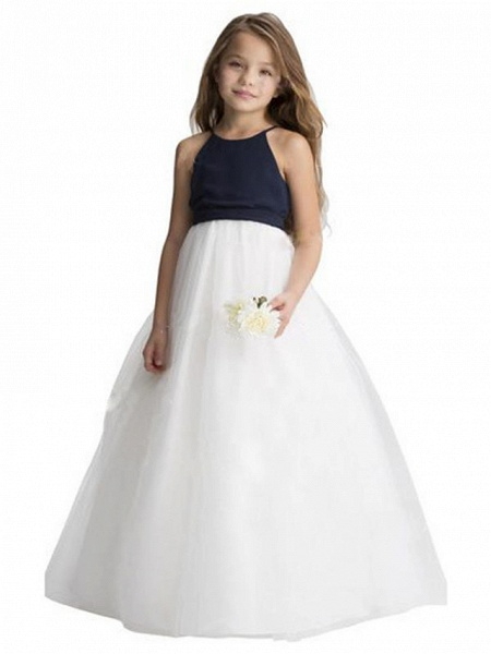 A-Line Floor Length Wedding / Party Flower Girl Dresses - Chiffon / Tulle Sleeveless Jewel Neck With Ruching_1