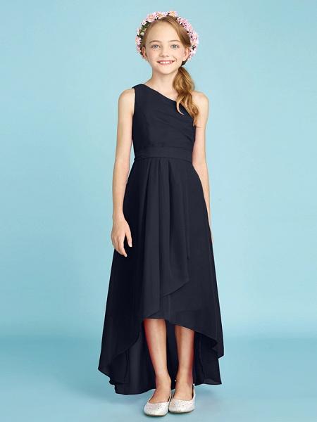 A-Line One Shoulder Asymmetrical Chiffon Junior Bridesmaid Dress With Sash / Ribbon / Bow(S) / Side Draping / Natural_39