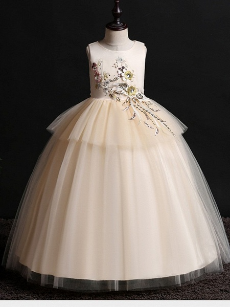 Princess / Ball Gown Floor Length Wedding / Party Flower Girl Dresses - Satin / Tulle Sleeveless Jewel Neck With Bow(S) / Appliques_1
