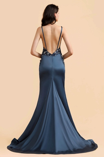 Spaghetti Strap Beaded Navy Blue Mermaid Backless Prom Dress_3