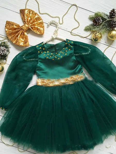 Princess / A-Line Floor Length Party / Birthday Flower Girl Dresses - Tulle Long Sleeve Jewel Neck With Beading / Paillette_2