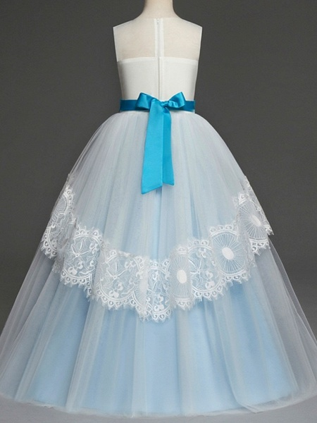 A-Line Floor Length Pageant Flower Girl Dresses - Tulle Sleeveless Jewel Neck With Lace / Bow(S)_4