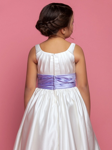 Princess / A-Line Ankle Length Satin Sleeveless Square Neck With Sash / Ribbon / Ruched / Side Draping_5