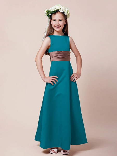 Princess / A-Line Bateau Neck Floor Length Satin Junior Bridesmaid Dress With Sash / Ribbon / Ruched / Spring / Summer / Fall / Winter / Apple_24
