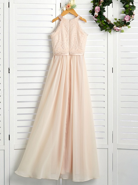 A-Line Crew Neck Floor Length Chiffon / Lace Junior Bridesmaid Dress With Lace / Sash / Ribbon_2