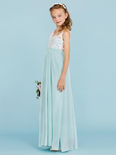 Sheath / Column V Neck Floor Length Chiffon / Lace Junior Bridesmaid Dress With Sash / Ribbon / Pleats / Color Block / Wedding Party / Open Back_3