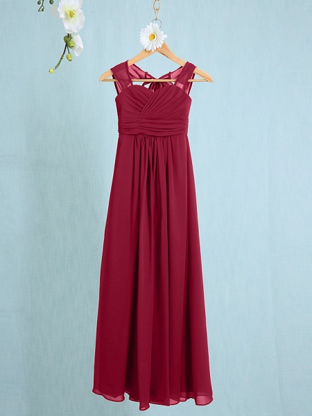 Sheath / Column Straps Ankle Length Chiffon Junior Bridesmaid Dress With Ruched / Natural_12