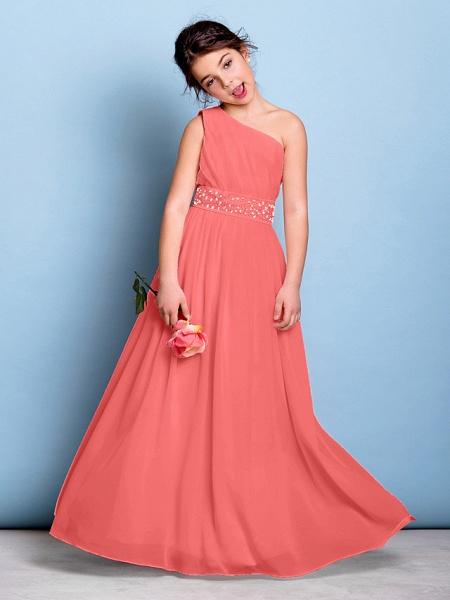 A-Line One Shoulder Floor Length Chiffon Junior Bridesmaid Dress With Sash / Ribbon / Beading / Side Draping / Natural_13