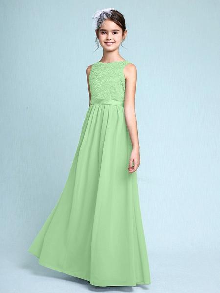 Sheath / Column Bateau Neck Floor Length Chiffon / Lace Junior Bridesmaid Dress With Lace / Natural_30