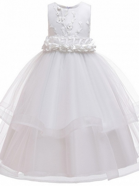 Princess / Ball Gown Ankle Length Wedding / Party Flower Girl Dresses - Tulle Sleeveless Jewel Neck With Sash / Ribbon / Bow(S) / Appliques_11