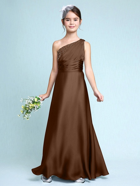 Sheath / Column One Shoulder Floor Length Chiffon Satin Junior Bridesmaid Dress With Ruched / Side Draping / Natural_24