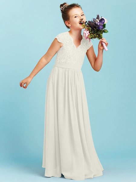 Princess / A-Line V Neck Floor Length Chiffon / Lace Junior Bridesmaid Dress With Sash / Ribbon / Pleats / Wedding Party_50