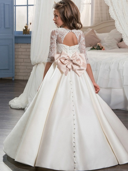 Ball Gown Sweep / Brush Train Wedding / Birthday / Pageant Flower Girl Dresses - Lace / Satin Half Sleeve V Neck With Beading / Appliques / Crystals / Rhinestones_2
