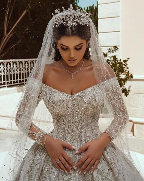 Luxurious Sequins Long Sleeve Satin Ball Gown Wedding Dress_6