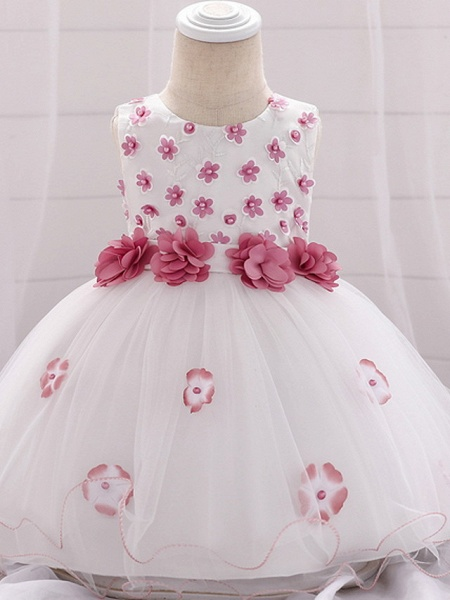 Ball Gown Floor Length Wedding / Party Flower Girl Dresses - Lace / Tulle Sleeveless Jewel Neck With Bow(S) / Tier / Appliques_4