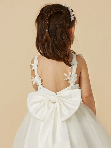 A-Line Knee Length Wedding / First Communion Flower Girl Dresses - Lace / Tulle Sleeveless V Neck With Bow(S)_8