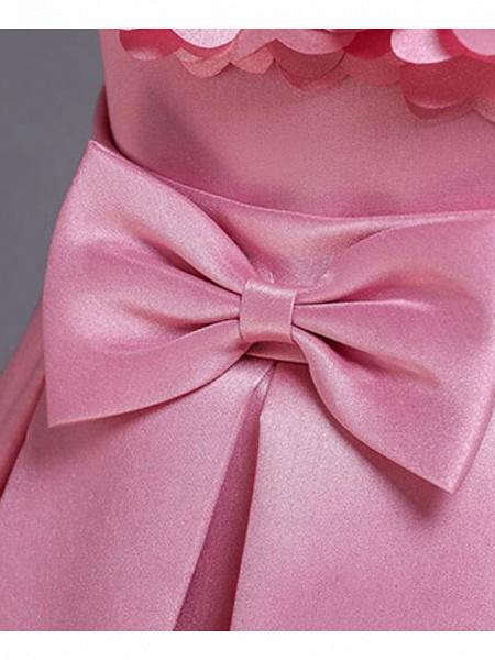 Princess Knee Length Wedding / Party / Pageant Flower Girl Dresses - Satin / Cotton Sleeveless Jewel Neck With Petal / Belt / Bow(S)_12