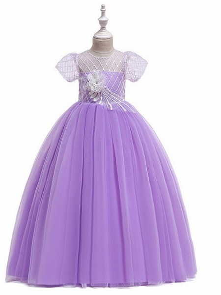 Ball Gown Round Floor Length Cotton Junior Bridesmaid Dress With Bow(S) / Appliques_4