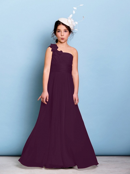 A-Line One Shoulder Floor Length Chiffon Junior Bridesmaid Dress With Sash / Ribbon / Criss Cross / Ruched / Natural_16