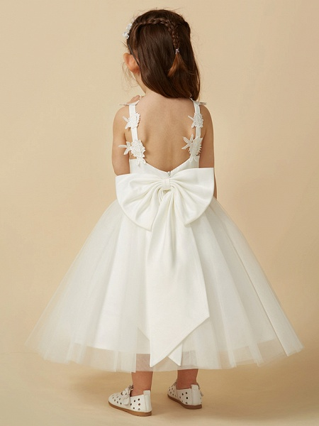 A-Line Knee Length Wedding / First Communion Flower Girl Dresses - Lace / Tulle Sleeveless V Neck With Bow(S)_2