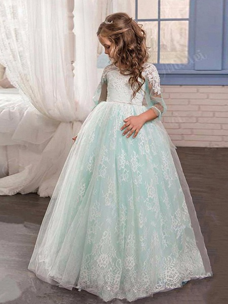 Princess / Ball Gown Sweep / Brush Train Wedding / Party Flower Girl Dresses - Lace / Tulle 3/4 Length Sleeve Jewel Neck With Pleats / Appliques_1