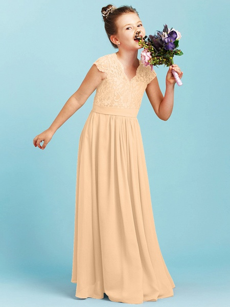 Princess / A-Line V Neck Floor Length Chiffon / Lace Junior Bridesmaid Dress With Sash / Ribbon / Pleats / Wedding Party_16