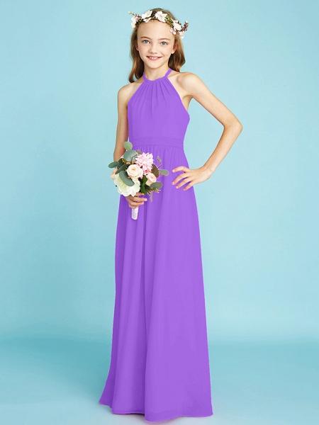 A-Line Halter Neck Floor Length Chiffon Junior Bridesmaid Dress With Sash / Ribbon / Natural_31