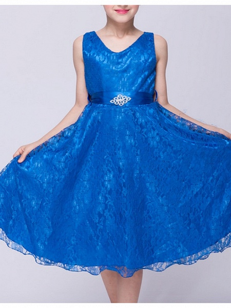 A-Line V Neck Knee Length Lace Junior Bridesmaid Dress With Sash / Ribbon_6