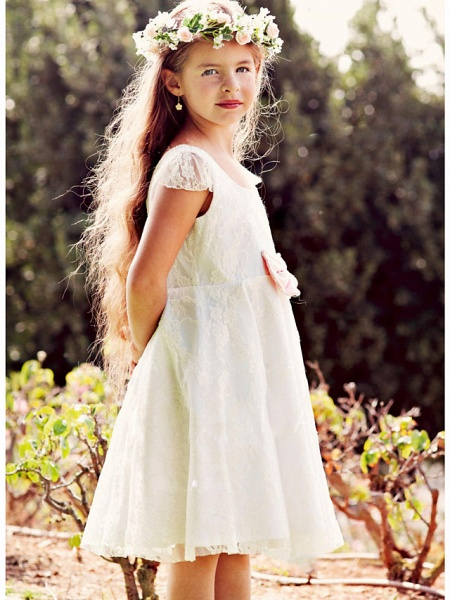 A-Line Knee Length Wedding / Party Flower Girl Dresses - Lace / Satin Cap Sleeve Jewel Neck With Lace_1