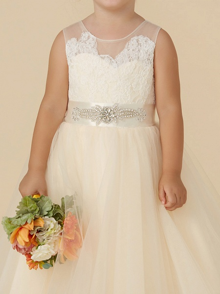 Princess Tea Length Wedding / Birthday / Pageant Flower Girl Dresses - Lace / Tulle Sleeveless Illusion Neck With Sash / Ribbon / Beading / Appliques_4
