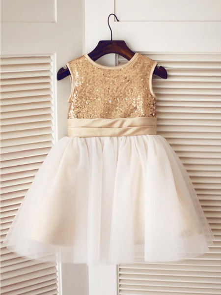 A-Line Knee Length Pageant Flower Girl Dresses - Tulle / Sequined Sleeveless Jewel Neck With Bow(S) / Sequin_2