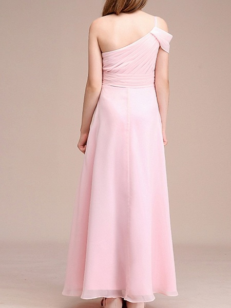 A-Line One Shoulder Ankle Length Chiffon Junior Bridesmaid Dress With Ruching_4
